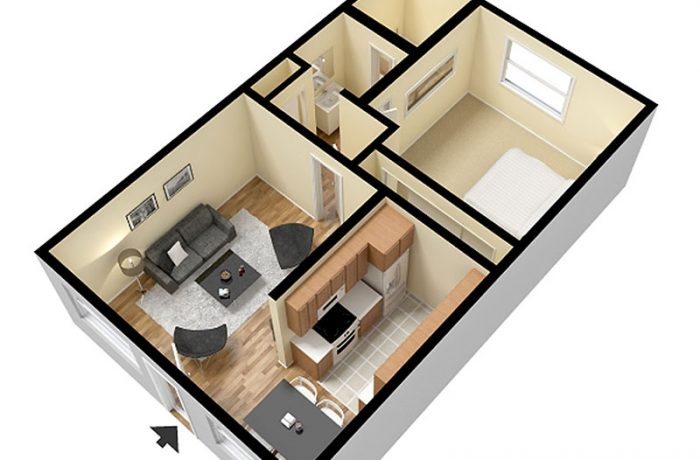 1 Bedroom Layout with Furniture