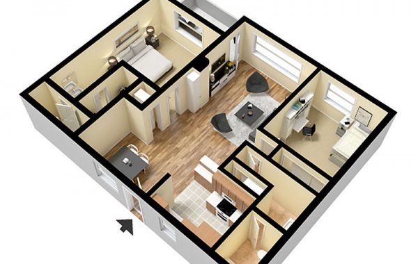 2 Bedroom Layout with Furniture